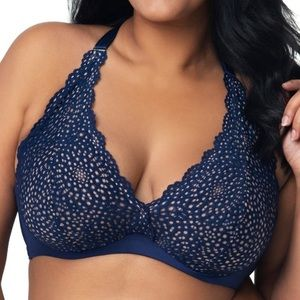 Curvy Couture Navy Crochet Bra Bralette 44C New